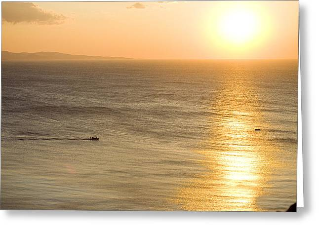 Sunset Prints Greeting Cards - Boat At Sea Sunset Golden Color Greeting Card by Raimond Klavins