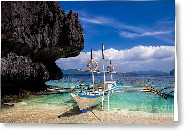 El-nido Greeting Cards - Boat on tropical beach Greeting Card by Fototrav Print