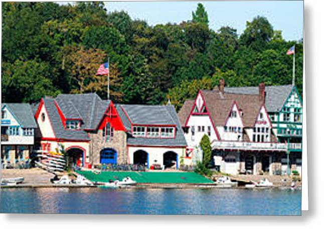 Schuylkill Greeting Cards - Boathouse Row At The Waterfront Greeting Card by Panoramic Images
