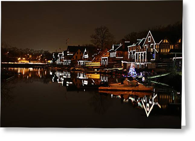 Boathouse Row Greeting Cards - Boathouse Row Lights Greeting Card by Bill Cannon