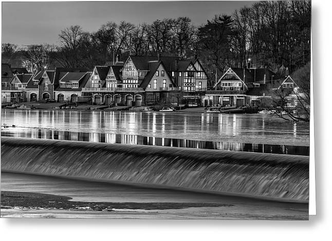 Boat House Row Greeting Cards - Boathouse Row BW Greeting Card by Susan Candelario