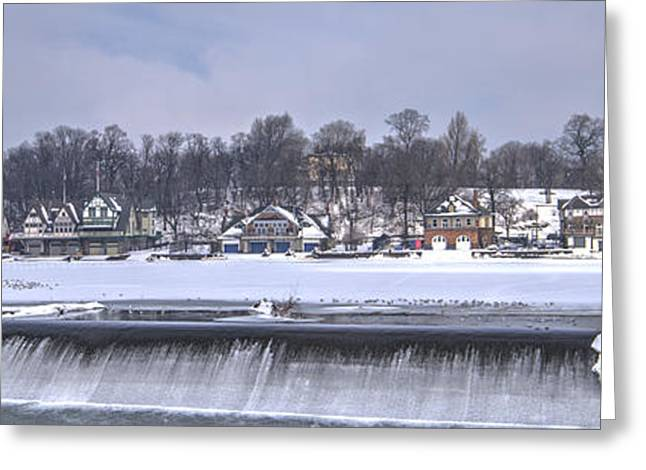Williams Dam Greeting Cards - Boathouse Row Winter Greeting Card by Mark Ayzenberg