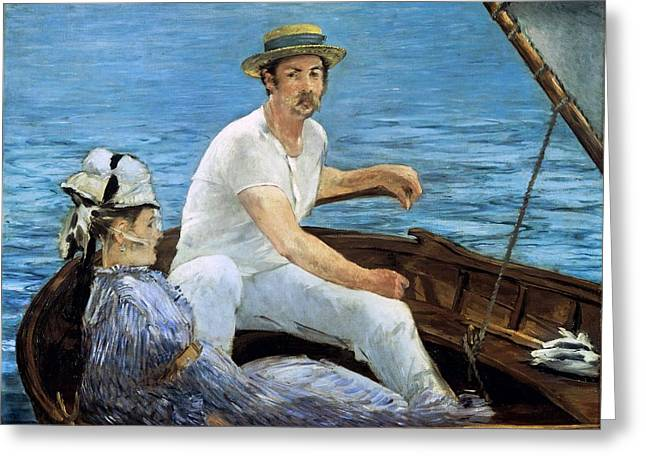 Exploring Paintings Greeting Cards - Boating Greeting Card by Edouard Manet