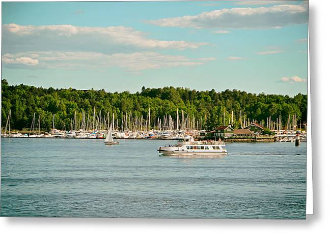 Sailboat Photos Greeting Cards - Boating in Oslo Norway Greeting Card by Mountain Dreams
