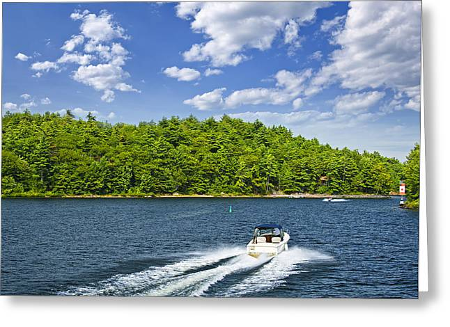 Driving Greeting Cards - Boating on lake Greeting Card by Elena Elisseeva