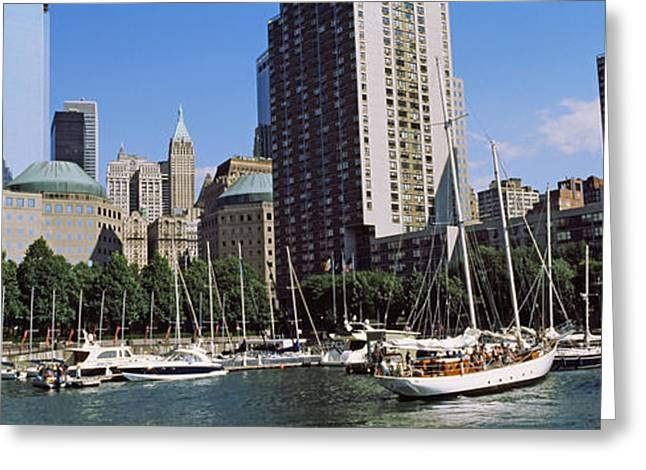 Buildings In The Harbor Greeting Cards - Boats At North Cove Yacht Harbor, New Greeting Card by Panoramic Images