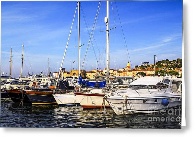 Expensive Greeting Cards - Boats at St.Tropez Greeting Card by Elena Elisseeva