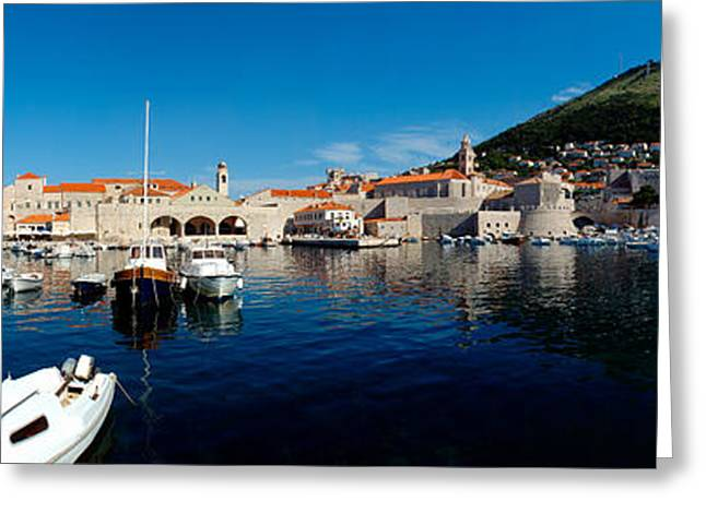 Tile Roof Greeting Cards - Boats In The Sea, Old City, Dubrovnik Greeting Card by Panoramic Images