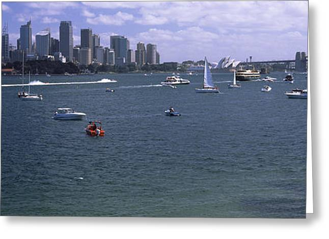 Famous Bridge Greeting Cards - Boats In The Sea With A Bridge Greeting Card by Panoramic Images