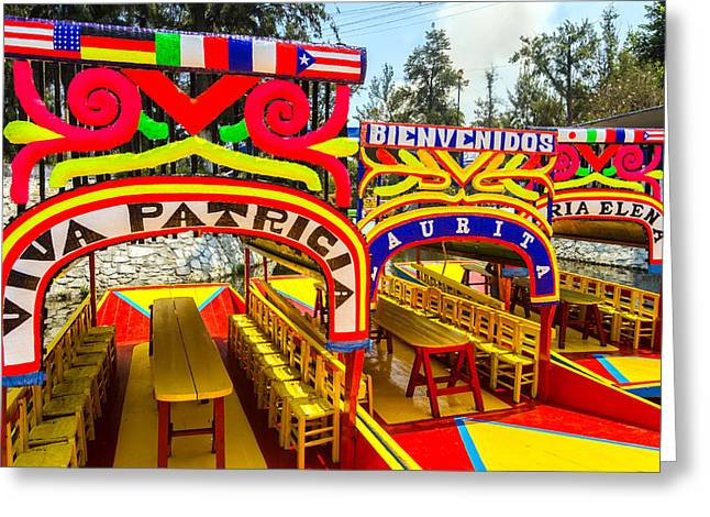Mexico City Greeting Cards - Boats in Xochimilco Greeting Card by Jess Kraft