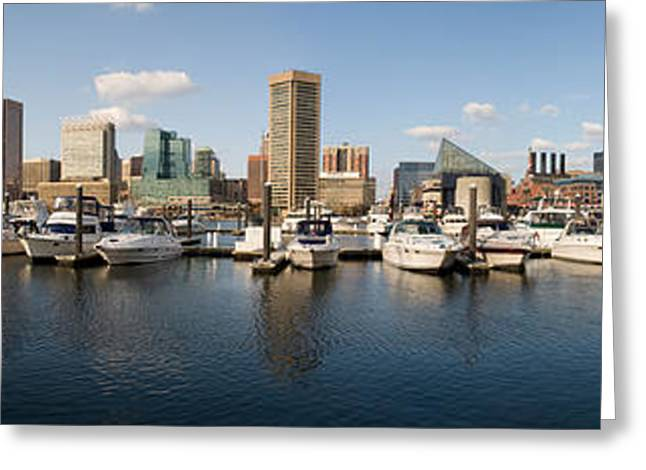 Inner Harbor Greeting Cards - Boats Moored At A Harbor, Inner Harbor Greeting Card by Panoramic Images
