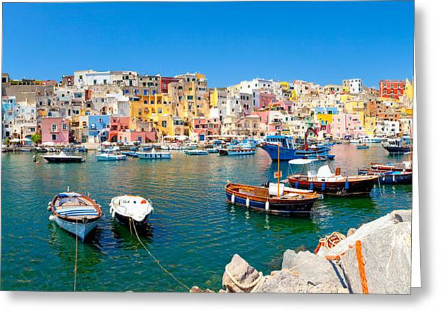 Naples Greeting Cards - Boats Moored At A Port, Marina Greeting Card by Panoramic Images