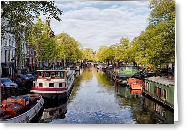 Old Home Place Greeting Cards - Boats on Amsterdam Canal Greeting Card by Artur Bogacki