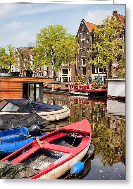 Old Home Place Greeting Cards - Boats on Canal in Amsterdam Greeting Card by Artur Bogacki