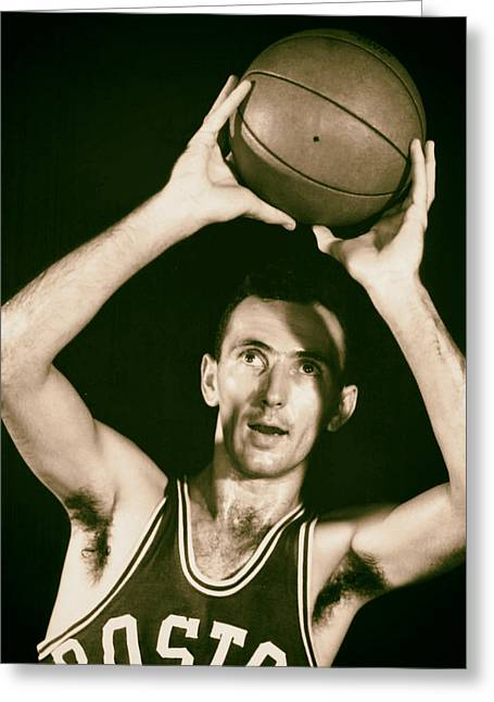 Recently Sold -  - 1950s Portraits Greeting Cards - Bob Cousy of the Boston Celtics 1950s Greeting Card by Mountain Dreams