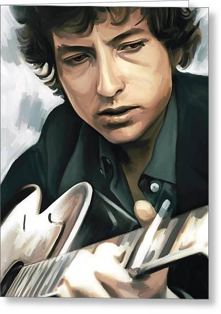 Bob Dylan Greeting Cards - Bob Dylan Artwork Greeting Card by Sheraz A
