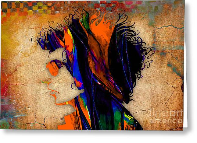Gold Art Greeting Cards - Bob Dylan Painting Greeting Card by Marvin Blaine