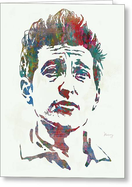 Culture Mixed Media Greeting Cards - Bob Dylan - Stylised Etching Pop Art Poster Greeting Card by Kim Wang