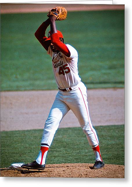 Bob Gibson Greeting Cards - Bob Gibson Greeting Card by Jerry Coli