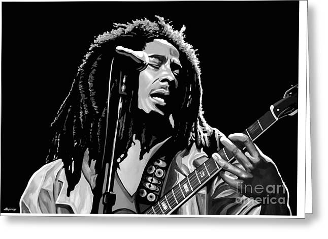 Stir Mixed Media Greeting Cards - Bob Marley Greeting Card by Meijering Manupix