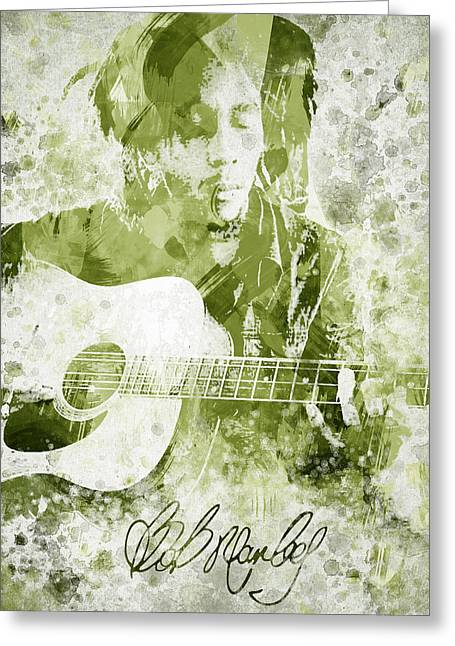 Autographed Greeting Cards - Bob Marley Portrait Greeting Card by Aged Pixel