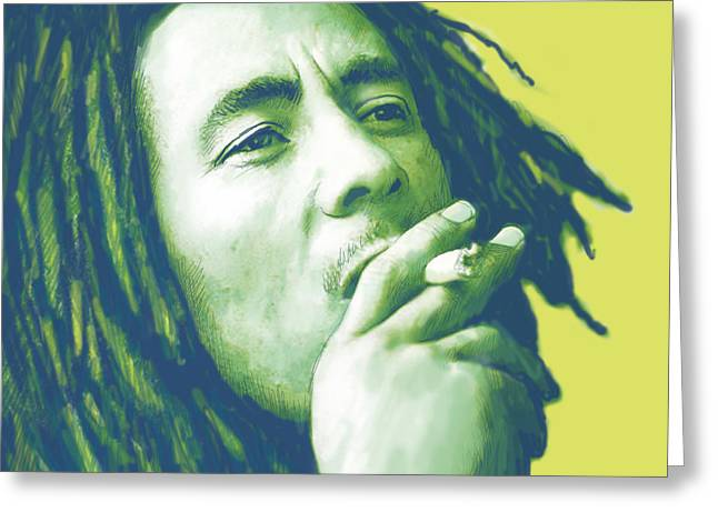 Pop Mixed Media Greeting Cards - Bob Marley Stylised Pop Art Drawing Potrait Poser Greeting Card by Kim Wang