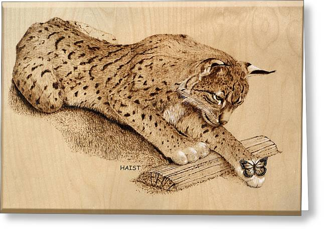 Wood Panel Pyrography Greeting Cards - Bobcat Greeting Card by Ron Haist
