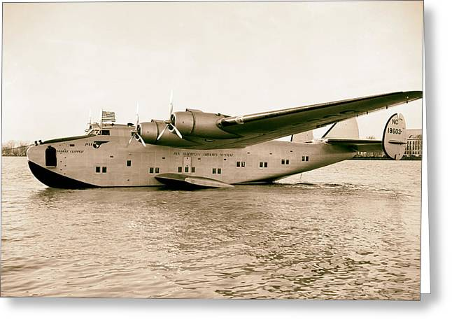 American Airways Greeting Cards - Boeing 314 Clipper 1939 Greeting Card by Mountain Dreams