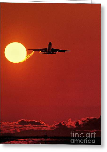 Boeing 747 Photographs Greeting Cards - Boeing 747 Taking Off At Sunset Greeting Card by David Nunuk
