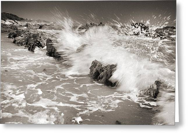 Seacape Greeting Cards - Bolonia waves Greeting Card by Guido Montanes Castillo