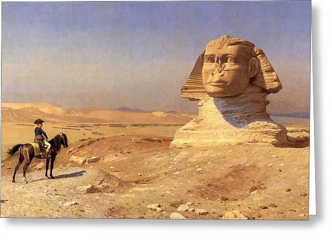 Gerome Greeting Cards - Bonaparte Before the Sphinx Greeting Card by Jean-Leon Gerome