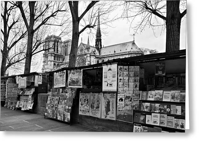 Montebello Greeting Cards - Book Sellers by The Seine / Paris Greeting Card by Barry O Carroll