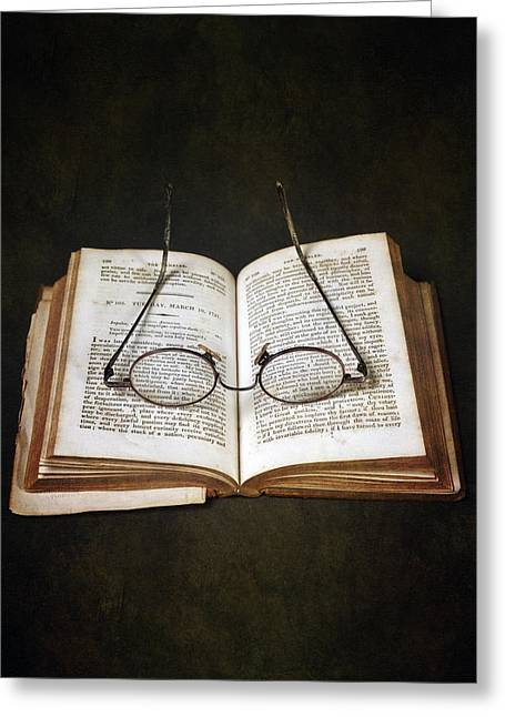 Book Greeting Cards - Book With Glasses Greeting Card by Joana Kruse