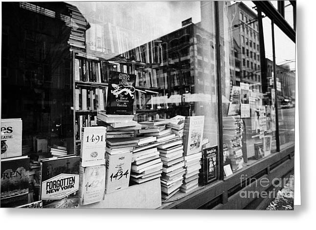 Downtown Books Greeting Cards - books in the window of a used book store Vancouver BC Canada Greeting Card by Joe Fox