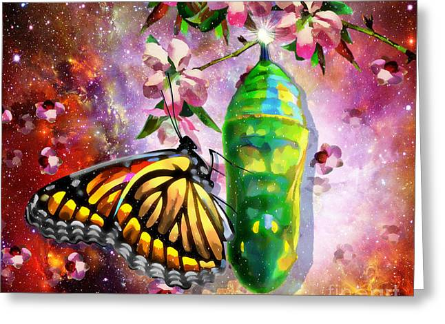 Cocoon Digital Greeting Cards - Born Again Greeting Card by Dolores Develde