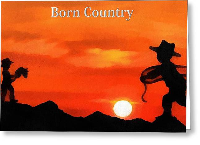 Rope Mixed Media Greeting Cards - Born Country Greeting Card by Dan Sproul