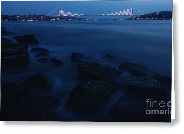Istanbul Greeting Cards - Bosphorus Bridge... Greeting Card by Merthan Kortan