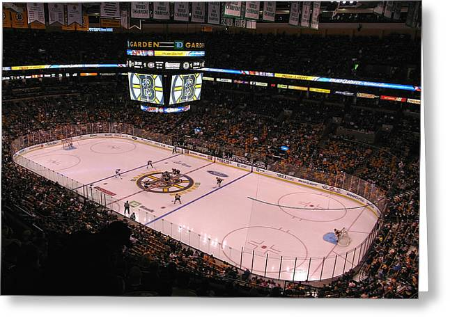 Sports Face Off Greeting Cards - Boston Bruins Greeting Card by Juergen Roth