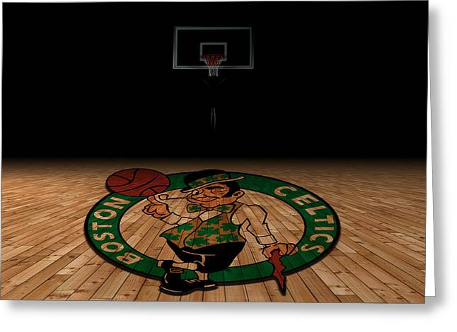 Dunk Greeting Cards - Boston Celtics Greeting Card by Joe Hamilton