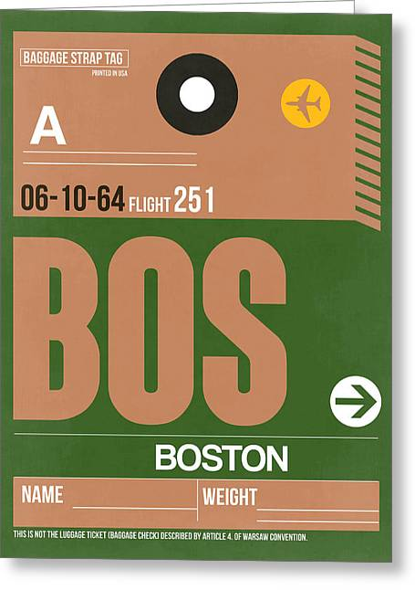 Town Mixed Media Greeting Cards - Boston Luggage Poster 1 Greeting Card by Naxart Studio