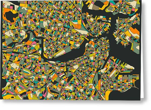 Boston Digital Art Greeting Cards - Boston Map Greeting Card by Jazzberry Blue