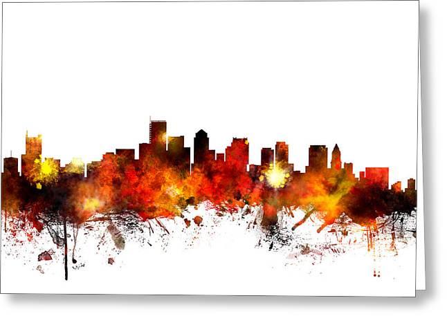 Boston Skyline Greeting Cards - Boston Massachusetts Skyline Greeting Card by Michael Tompsett
