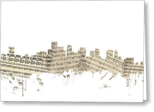Boston Skyline Greeting Cards - Boston Massachusetts Skyline Sheet Music Cityscape Greeting Card by Michael Tompsett