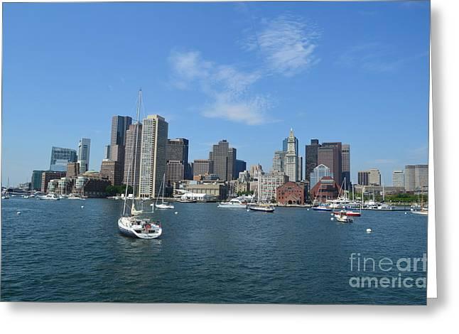 Boston Ma Greeting Cards - Boston Skyline Greeting Card by DejaVu Designs