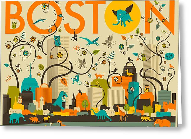 Boston Digital Art Greeting Cards - Boston Skyline Greeting Card by Jazzberry Blue