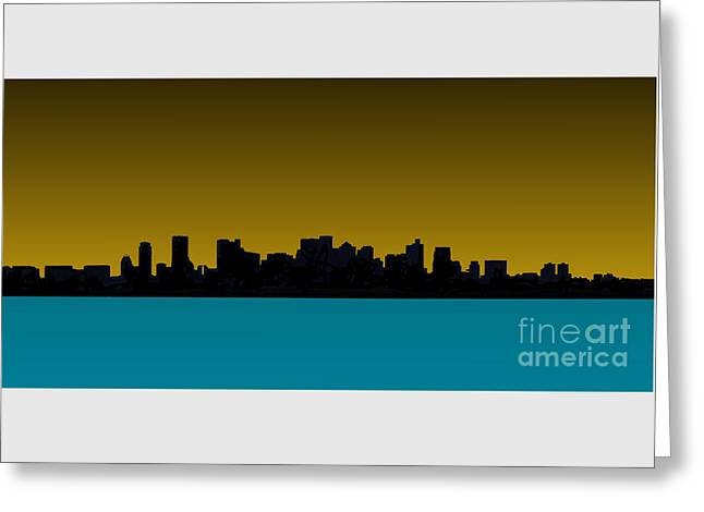 Red Sox Art Mixed Media Greeting Cards - Boston Skyline Greeting Card by Stephen Allen