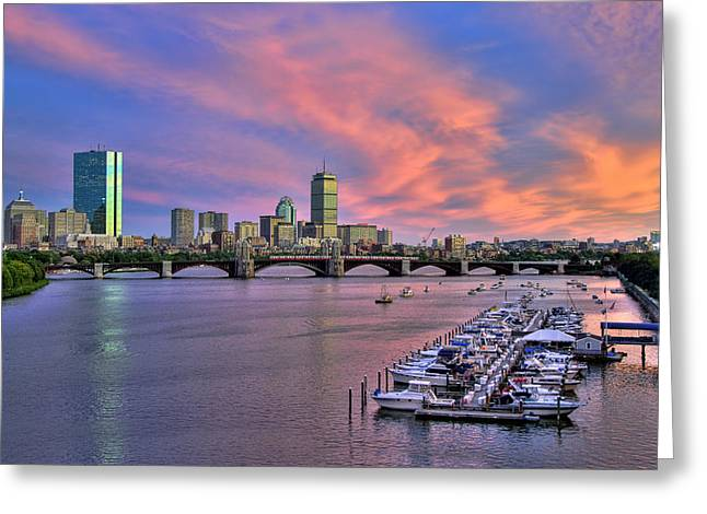 Boston Photographs Greeting Cards - Boston Skyline Sunset Greeting Card by Joann Vitali