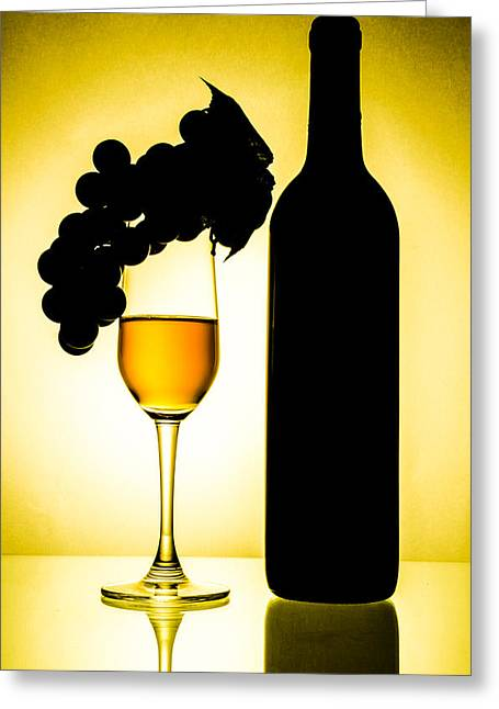 Wine-glass Ceramics Greeting Cards - Bottle and wine glass Greeting Card by Sirapol Siricharattakul