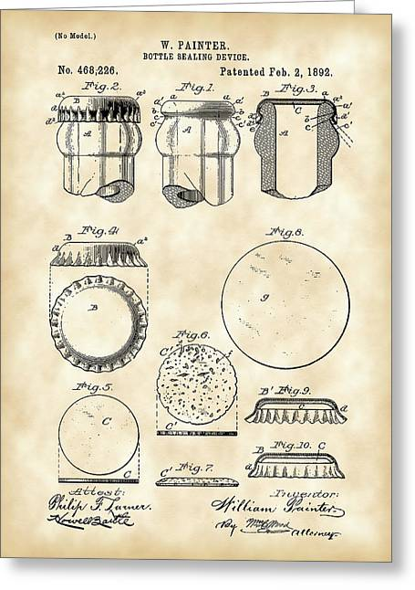 Bottle Cap Digital Art Greeting Cards - Bottle Cap Patent 1892 - Vintage Greeting Card by Stephen Younts