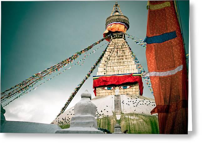 Twilight Framed Prints Greeting Cards - Boudhnath Stupa in Nepal Greeting Card by Raimond Klavins